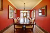 brown wooden table and dining chairs
