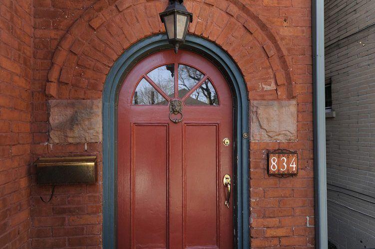 maroon wooden door