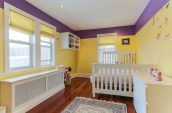 yellow and purple kids bedroom