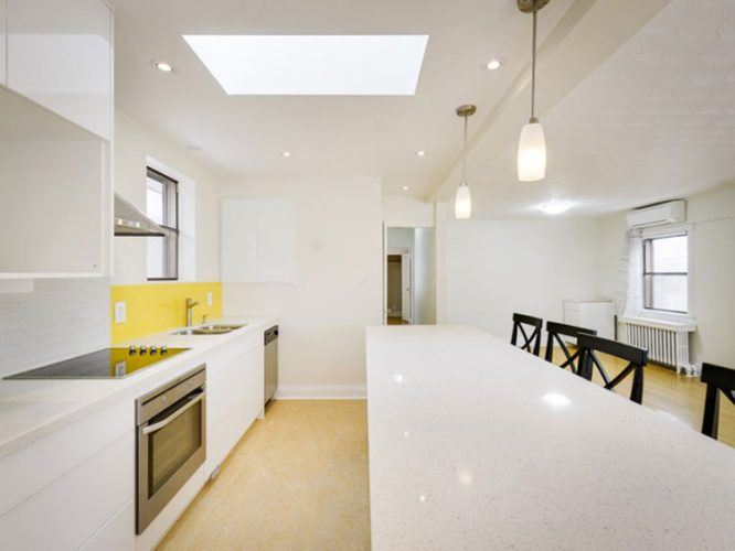 long white island in kitchen
