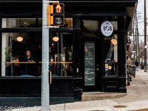 Bob coffee shop at the corner of the street