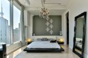 white and black platform bed