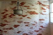 red and white painted brick wall
