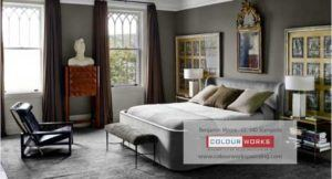 modern bedroom with bed grey walls and furnishings